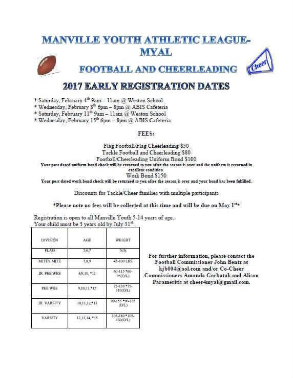 2017 MYAL Football and Cheerleading Early Registration