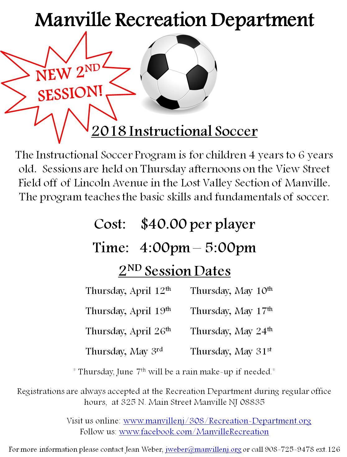 2018 Spring Instructional Soccer - Session II
