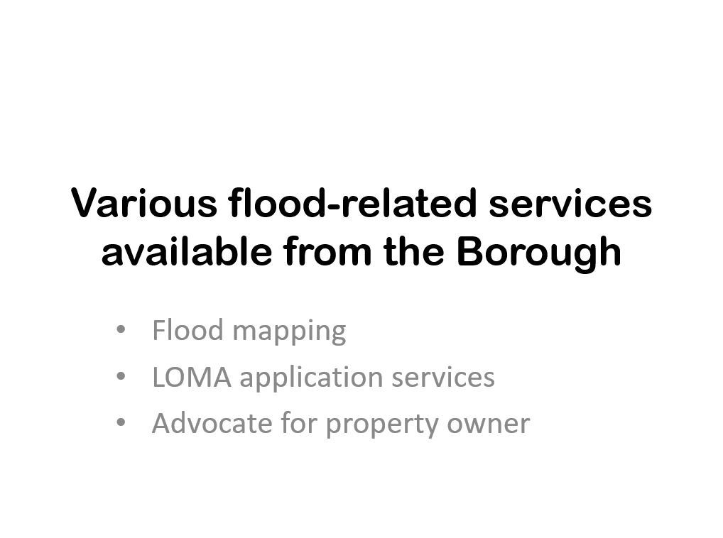 Various Flood Related Services from the Borough