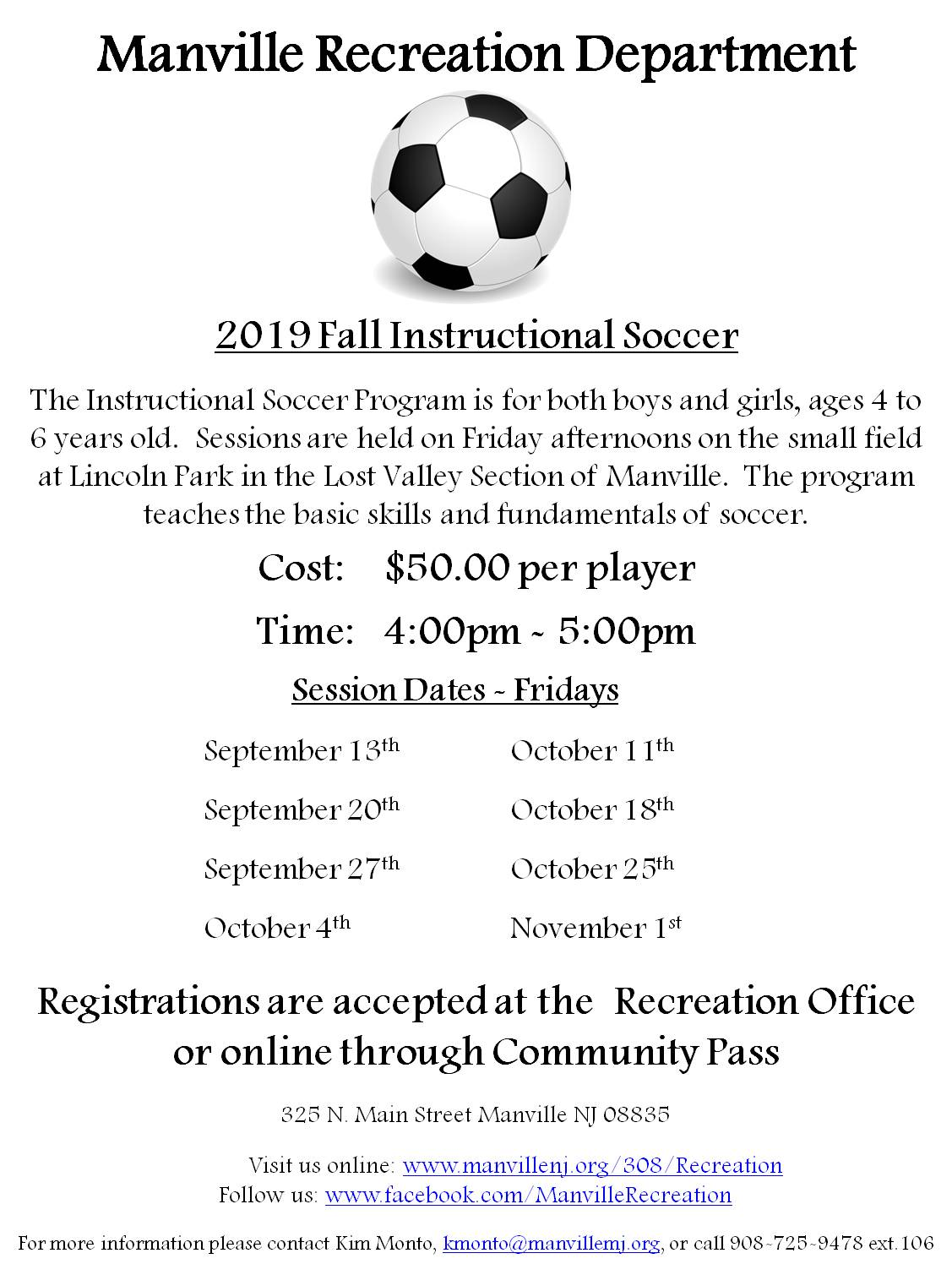 2019 Fall Instructional Soccer