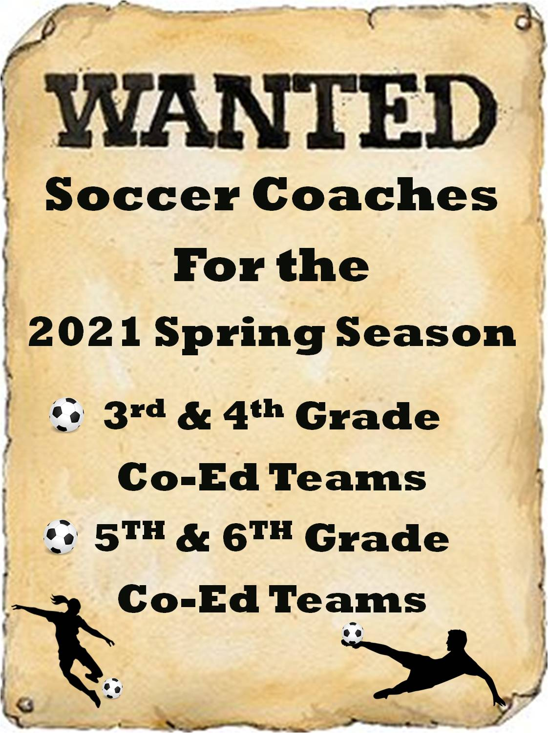 Wanted Spring 2021 Soccer Coaches