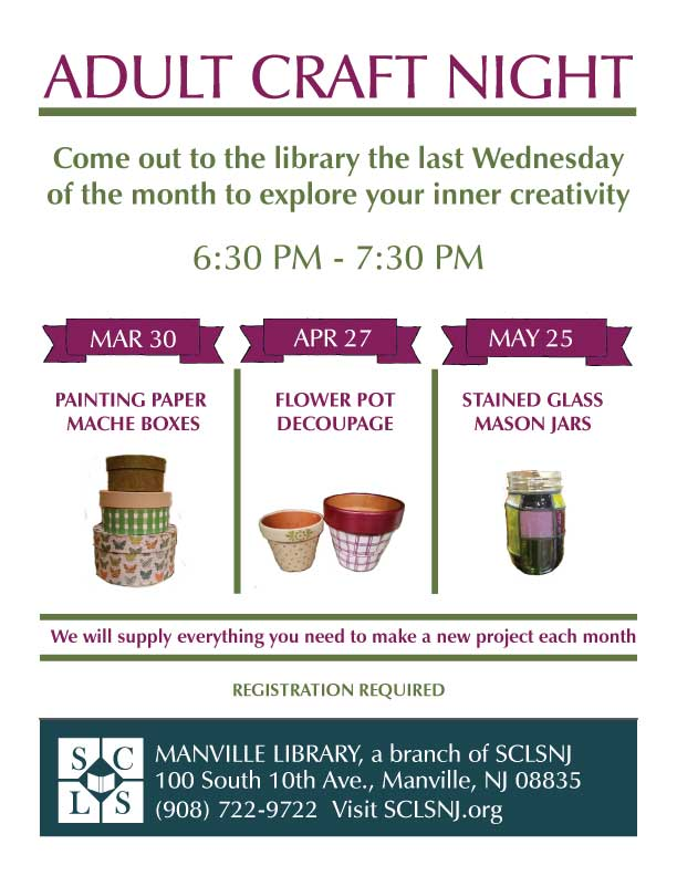 Library Programs for Adults Manville Borough NJ