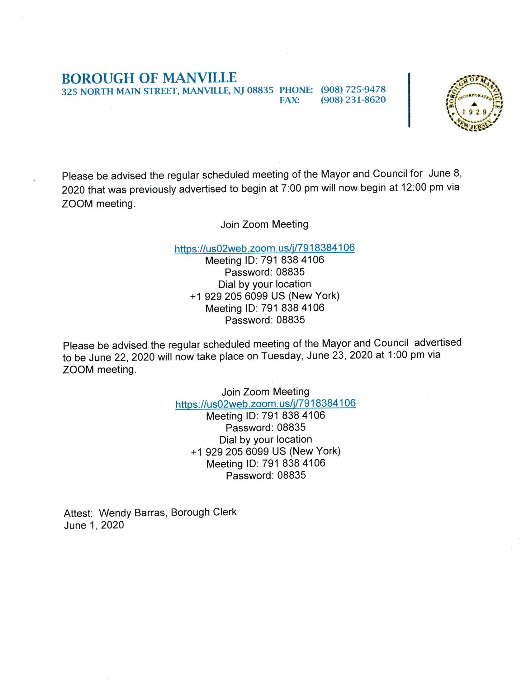 Mayor and Council Meeting Time Change
