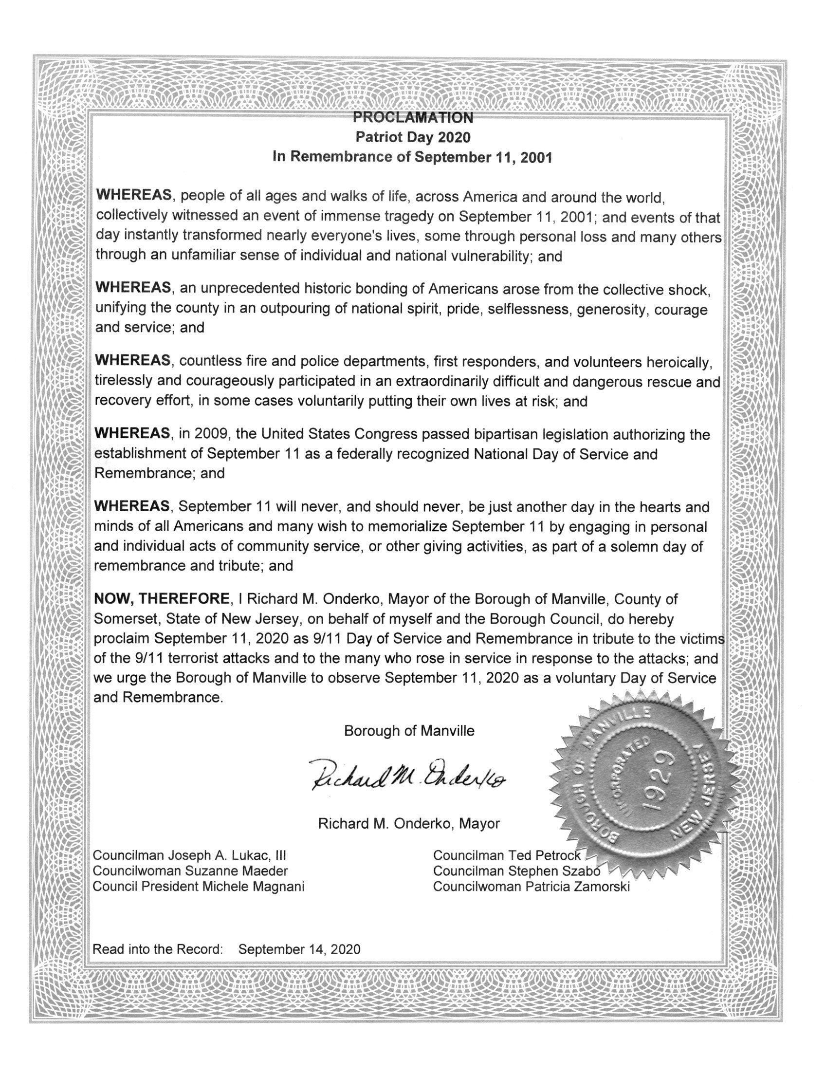 Patriot Day 2020 Proclamation